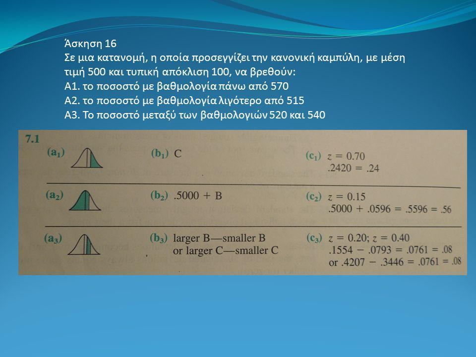 Άσκηση 16 Σε μια κατανομή, η οποία προσεγγίζει την κανονική καμπύλη, με μέση τιμή 500 και τυπική απόκλιση 100, να βρεθούν: Α1. το ποσοστό με βαθμολογί
