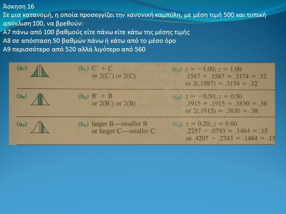 Άσκηση 16 Σε μια κατανομή, η οποία προσεγγίζει την κανονική καμπύλη, με μέση τιμή 500 και τυπική απόκλιση 100, να βρεθούν: Α7 πάνω από 100 βαθμούς είτε πάνω είτε κάτω της μέσης τιμής Α8 σε απόσταση 50 βαθμών πάνω ή κάτω από το μέσο όρο Α9 περισσότερο από 520 αλλά λιγότερο από 560