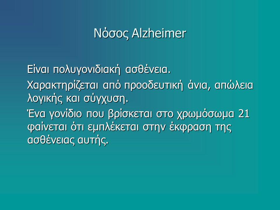 Νόσος Alzheimer Είναι πολυγονιδιακή ασθένεια. Είναι πολυγονιδιακή ασθένεια. Χαρακτηρίζεται από προοδευτική άνια, απώλεια λογικής και σύγχυση. Χαρακτηρ