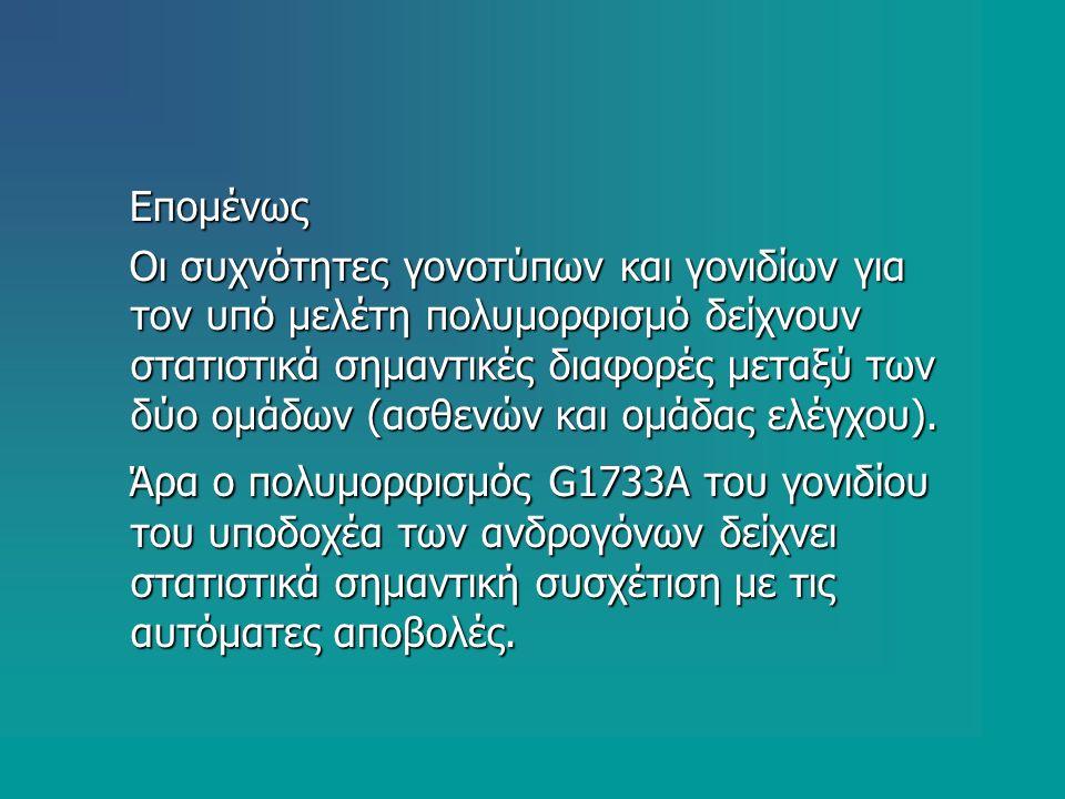 Επομένως Επομένως Οι συχνότητες γονοτύπων και γονιδίων για τον υπό μελέτη πολυμορφισμό δείχνουν στατιστικά σημαντικές διαφορές μεταξύ των δύο ομάδων (