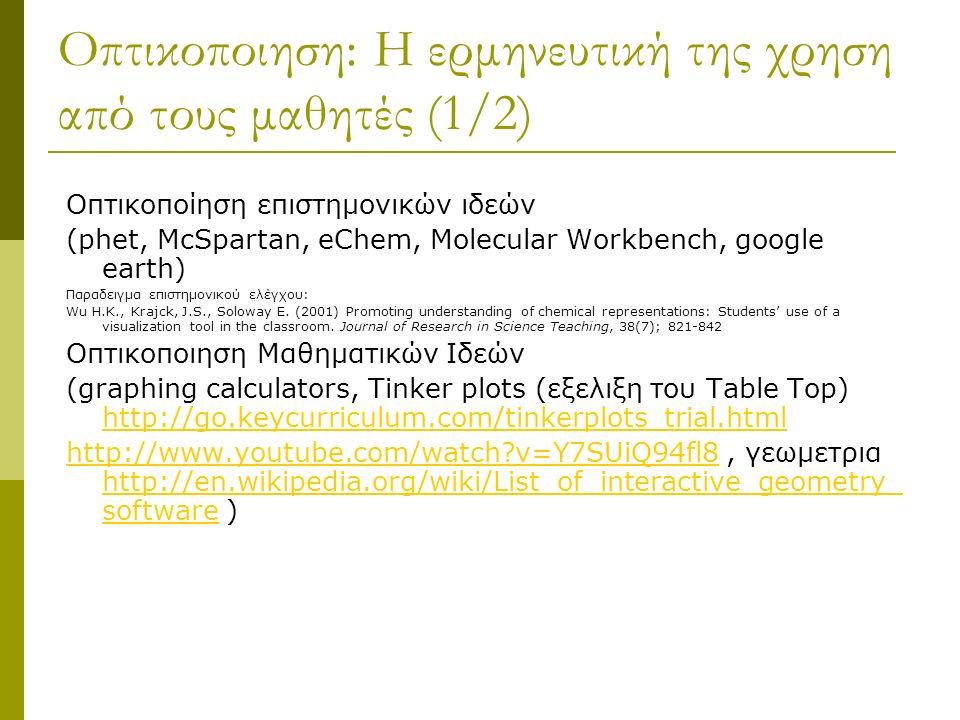Οπτικοποιηση: Η ερμηνευτική της χρηση από τους μαθητές (1/2) Οπτικοποίηση επιστημονικών ιδεών (phet, McSpartan, eChem, Molecular Workbench, google earth) Παραδειγμα επιστημονικού ελέγχου: Wu H.K., Krajck, J.S., Soloway E.