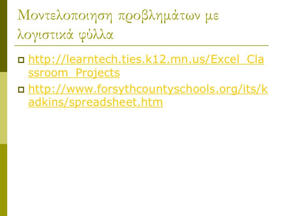 Μοντελοποιηση προβλημάτων με λογιστικά φύλλα  http://learntech.ties.k12.mn.us/Excel_Cla ssroom_Projects http://learntech.ties.k12.mn.us/Excel_Cla ssroom_Projects  http://www.forsythcountyschools.org/its/k adkins/spreadsheet.htm http://www.forsythcountyschools.org/its/k adkins/spreadsheet.htm