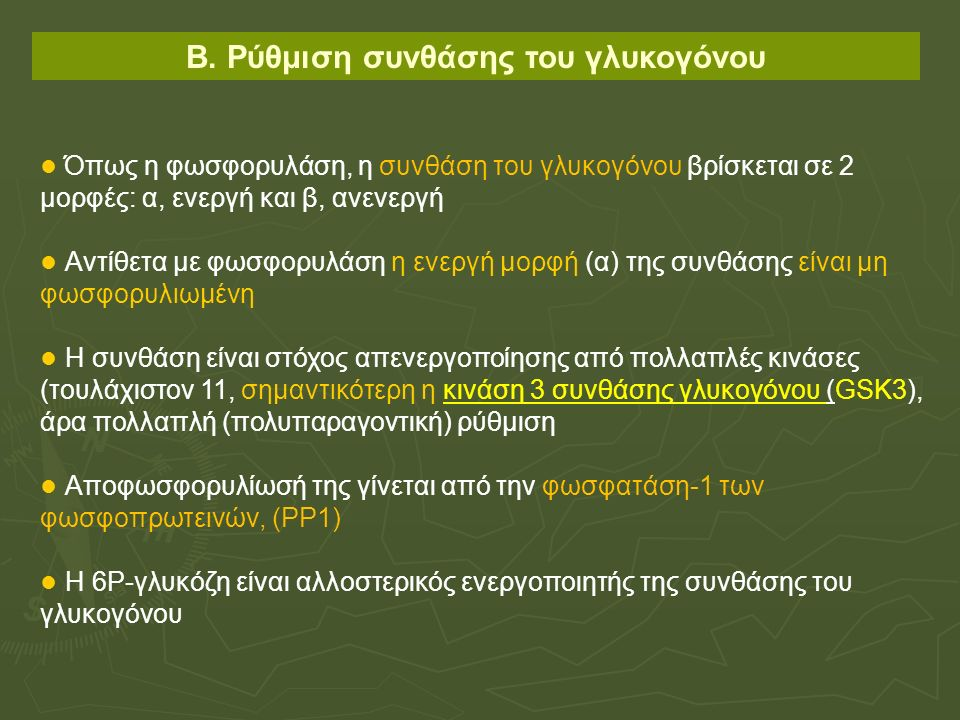 Β. Ρύθμιση συνθάσης του γλυκογόνου Όπως η φωσφορυλάση, η συνθάση του γλυκογόνου βρίσκεται σε 2 μορφές: α, ενεργή και β, ανενεργή Αντίθετα με φωσφορυλά