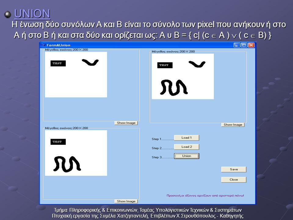 Τμήμα Πληροφορικής & Επικοινωνιών, Τομέας Υπολογιστικών Τεχνικών & Συστημάτων Πτυχιακή εργασία της Συμέλα Χατζηπαντελή, Επιβλέπων Χ.Στρουθόπουλος - Καθηγητής UNION Η ένωση δύο συνόλων Α και Β είναι το σύνολο των pixel που ανήκουν ή στο Α ή στο Β ή και στα δύο και ορίζεται ως: Α υ Β = { c| (c  A )  ( c  B) } Η ένωση δύο συνόλων Α και Β είναι το σύνολο των pixel που ανήκουν ή στο Α ή στο Β ή και στα δύο και ορίζεται ως: Α υ Β = { c| (c  A )  ( c  B) }