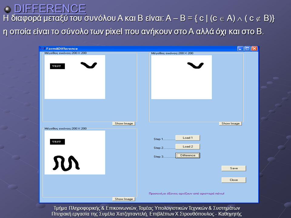 Τμήμα Πληροφορικής & Επικοινωνιών, Τομέας Υπολογιστικών Τεχνικών & Συστημάτων Πτυχιακή εργασία της Συμέλα Χατζηπαντελή, Επιβλέπων Χ.Στρουθόπουλος - Καθηγητής DIFFERENCE Η διαφορά μεταξύ του συνόλου Α και Β είναι: A – B = { c | (c  A)  ( c  B)} η οποία είναι το σύνολο των pixel που ανήκουν στο Α αλλά όχι και στο Β.