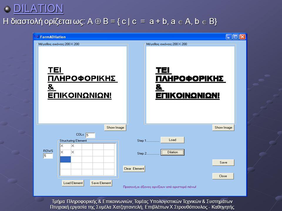 Τμήμα Πληροφορικής & Επικοινωνιών, Τομέας Υπολογιστικών Τεχνικών & Συστημάτων Πτυχιακή εργασία της Συμέλα Χατζηπαντελή, Επιβλέπων Χ.Στρουθόπουλος - Καθηγητής DILATION Η διαστολή ορίζεται ως: A  B = { c | c = a + b, a  A, b  B}