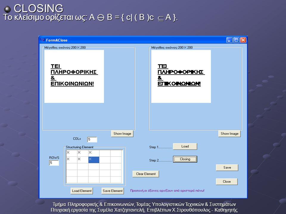 Τμήμα Πληροφορικής & Επικοινωνιών, Τομέας Υπολογιστικών Τεχνικών & Συστημάτων Πτυχιακή εργασία της Συμέλα Χατζηπαντελή, Επιβλέπων Χ.Στρουθόπουλος - Καθηγητής CLOSING Το κλείσιμο ορίζεται ως: A  B = { c| ( B )c  A }.