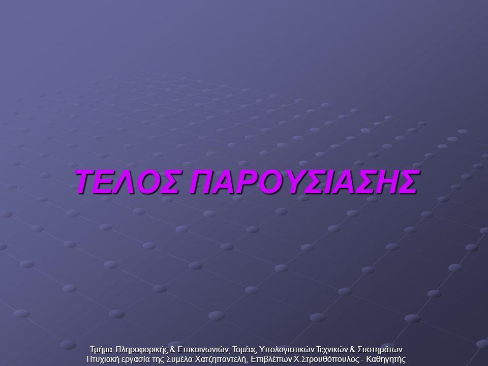 Τμήμα Πληροφορικής & Επικοινωνιών, Τομέας Υπολογιστικών Τεχνικών & Συστημάτων Πτυχιακή εργασία της Συμέλα Χατζηπαντελή, Επιβλέπων Χ.Στρουθόπουλος - Καθηγητής ΤΕΛΟΣ ΠΑΡΟΥΣΙΑΣΗΣ