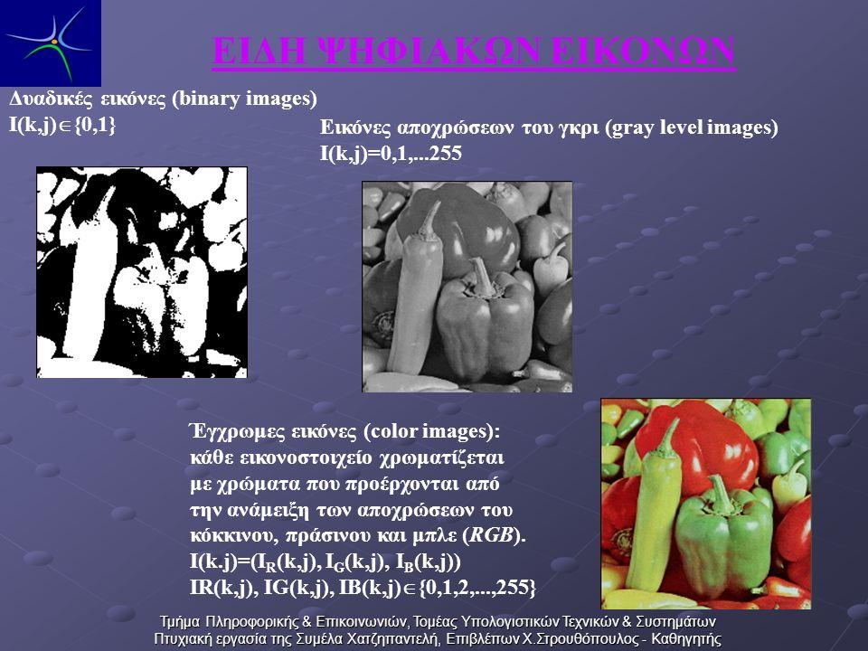 Τμήμα Πληροφορικής & Επικοινωνιών, Τομέας Υπολογιστικών Τεχνικών & Συστημάτων Πτυχιακή εργασία της Συμέλα Χατζηπαντελή, Επιβλέπων Χ.Στρουθόπουλος - Καθηγητής ΕΙΔΗ ΨΗΦΙΑΚΩΝ ΕΙΚΟΝΩΝ Έγχρωμες εικόνες (color images): κάθε εικονοστοιχείο χρωματίζεται με χρώματα που προέρχονται από την ανάμειξη των αποχρώσεων του κόκκινου, πράσινου και μπλε (RGB).