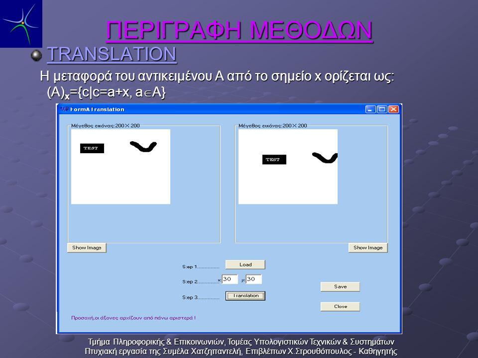 Τμήμα Πληροφορικής & Επικοινωνιών, Τομέας Υπολογιστικών Τεχνικών & Συστημάτων Πτυχιακή εργασία της Συμέλα Χατζηπαντελή, Επιβλέπων Χ.Στρουθόπουλος - Καθηγητής ΠΕΡΙΓΡΑΦΗ ΜΕΘΟΔΩΝ TRANSLATION Η μεταφορά του αντικειμένου Α από το σημείο x ορίζεται ως: (A) x ={c|c=a+x, a  A} Η μεταφορά του αντικειμένου Α από το σημείο x ορίζεται ως: (A) x ={c|c=a+x, a  A}