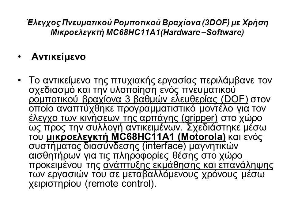 Έλεγχος Πνευματικού Ρομποτικού Βραχίονα (3DOF) με Χρήση Μικροελεγκτή MC68HC11A1(Hardware –Software) Αντικείμενο Τo αντικείμενο της πτυχιακής εργασίας περιλάμβανε τον σχεδιασμό και την υλοποίηση ενός πνευματικού ρομποτικού βραχίονα 3 βαθμών ελευθερίας (DOF) στον οποίο αναπτύχθηκε προγραμματιστικό μοντέλο για τον έλεγχο των κινήσεων της αρπάγης (gripper) στο χώρο ως προς την συλλογή αντικειμένων.