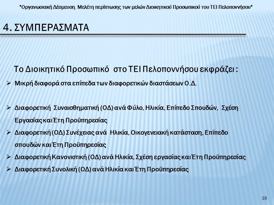 4. ΣΥΜΠΕΡΑΣΜΑΤΑ Το Διοικητικό Προσωπικό στο ΤΕΙ Πελοποννήσου εκφράζει :  Μικρή διαφορά στα επίπεδα των διαφορετικών διαστάσεων Ο.Δ.  Διαφορετική Συν