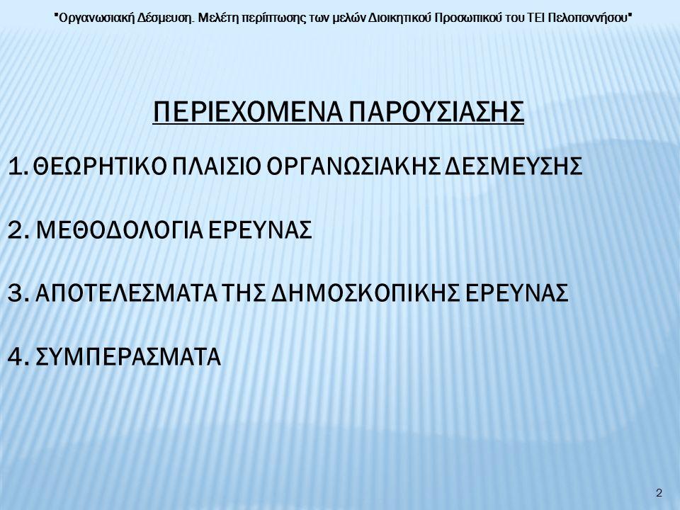1.ΘΕΩΡΗΤΙΚΟ ΠΛΑΙΣΙΟ ΟΡΓΑΝΩΣΙΑΚΗΣ ΔΕΣΜΕΥΣΗΣ Τι είναι η Οργανωσιακή Δέσμευση.