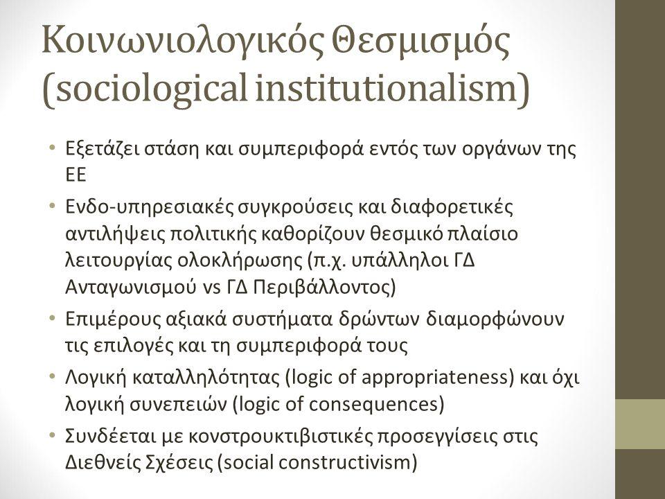 Κοινωνιολογικός Θεσμισμός (sociological institutionalism) Εξετάζει στάση και συμπεριφορά εντός των οργάνων της ΕΕ Ενδο-υπηρεσιακές συγκρούσεις και διαφορετικές αντιλήψεις πολιτικής καθορίζουν θεσμικό πλαίσιο λειτουργίας ολοκλήρωσης (π.χ.