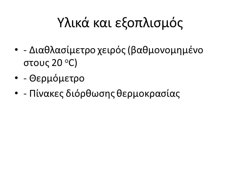 Υλικά και εξοπλισμός - Διαθλασίμετρο χειρός (βαθμονομημένο στους 20 ο C) - Θερμόμετρο - Πίνακες διόρθωσης θερμοκρασίας
