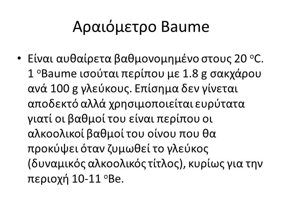 Αραιόμετρο Baume Είναι αυθαίρετα βαθμονομημένο στους 20 ο C.