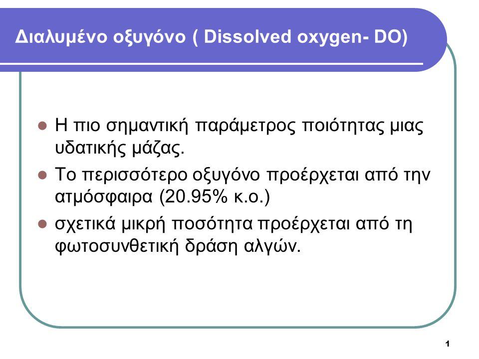 1 Διαλυμένο οξυγόνο ( Dissolved oxygen- DO) Η πιο σημαντική παράμετρος ποιότητας μιας υδατικής μάζας. Το περισσότερο οξυγόνο προέρχεται από την ατμόσφ