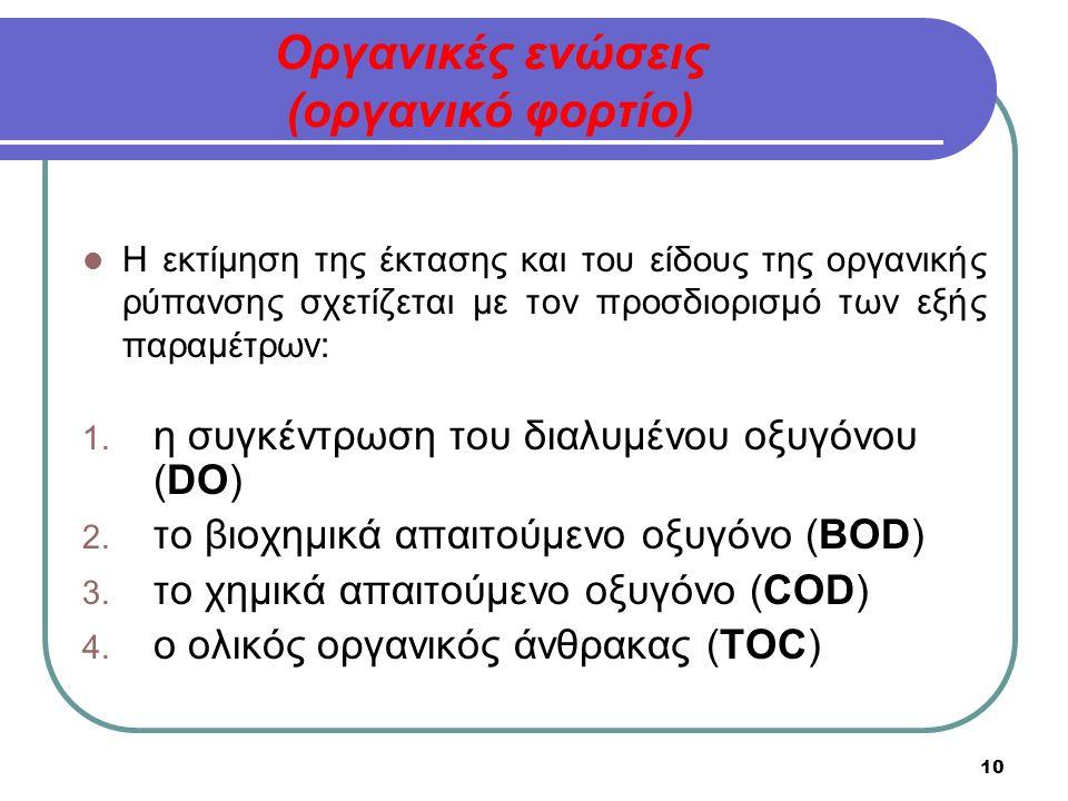10 Οργανικές ενώσεις (οργανικό φορτίο) Η εκτίμηση της έκτασης και του είδους της οργανικής ρύπανσης σχετίζεται με τον προσδιορισμό των εξής παραμέτρων: 1.