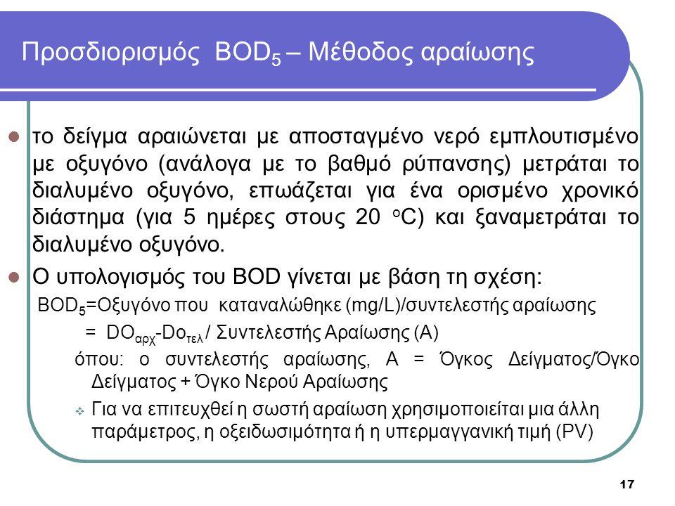 Προσδιορισμός BOD 5 – Μέθοδος αραίωσης το δείγμα αραιώνεται με αποσταγμένο νερό εμπλουτισμένο με οξυγόνο (ανάλογα με το βαθμό ρύπανσης) μετράται το δι