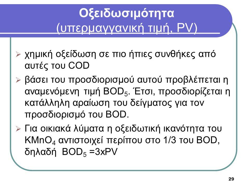 29 Οξειδωσιμότητα (υπερμαγγανική τιμή, PV)  χημική οξείδωση σε πιο ήπιες συνθήκες από αυτές του COD  βάσει του προσδιορισμού αυτού προβλέπεται η αναμενόμενη τιμή ΒΟD 5.