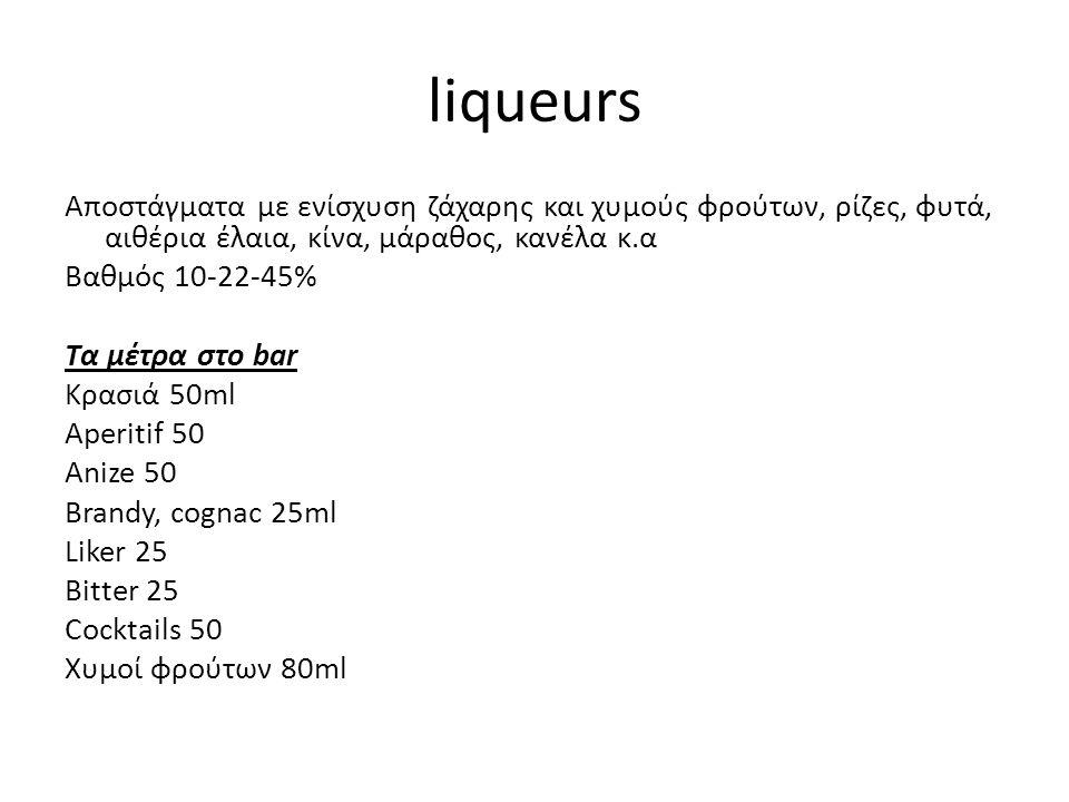 liqueurs Αποστάγματα με ενίσχυση ζάχαρης και χυμούς φρούτων, ρίζες, φυτά, αιθέρια έλαια, κίνα, μάραθος, κανέλα κ.α Βαθμός 10-22-45% Τα μέτρα στο bar Κ