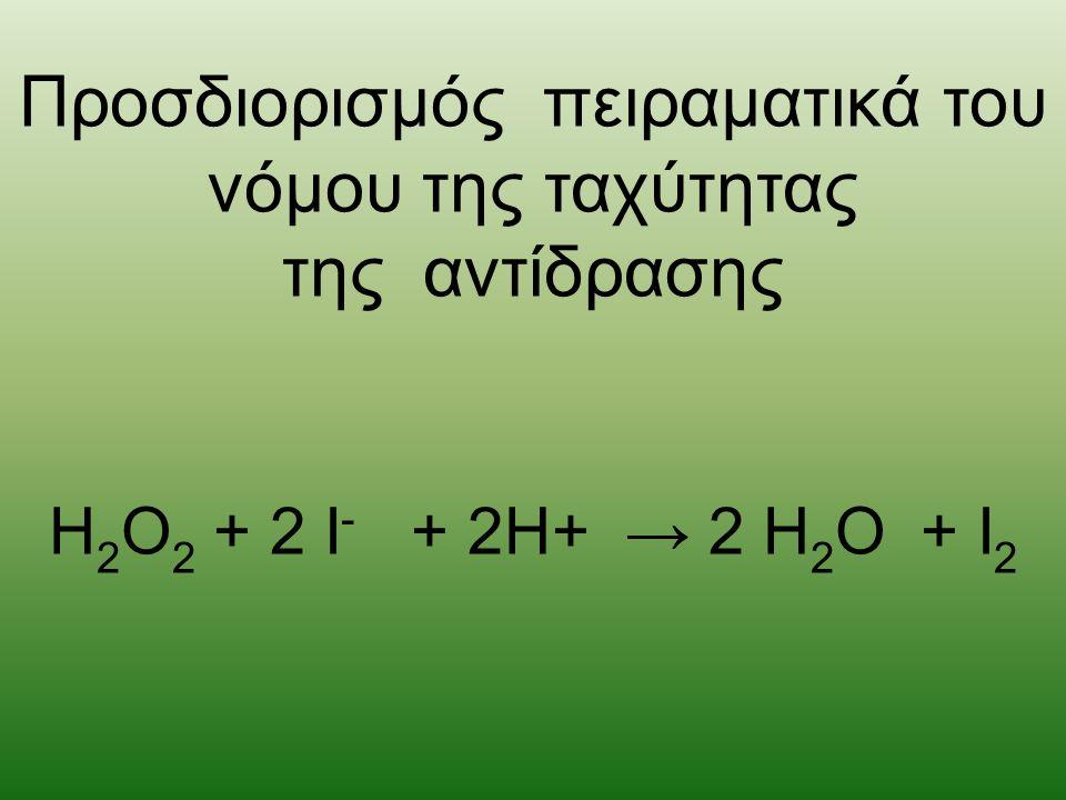 Προσδιορισμός πειραματικά του νόμου της ταχύτητας της αντίδρασης H 2 O 2 + 2 I - + 2H+ → 2 H 2 O + I 2