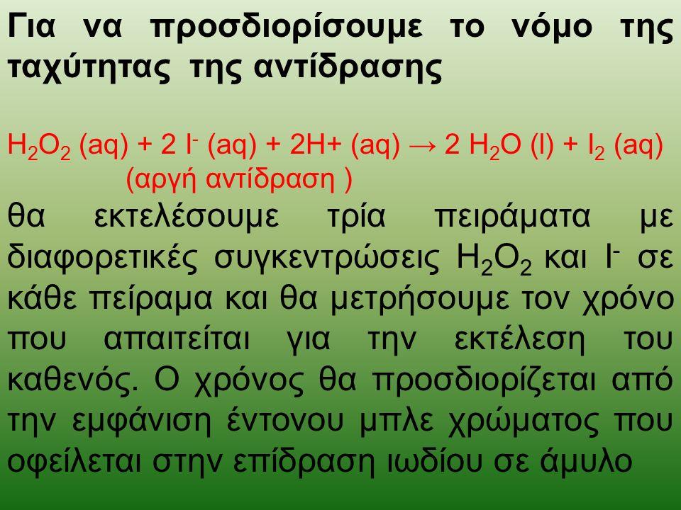 Για να προσδιορίσουμε το νόμο της ταχύτητας της αντίδρασης H 2 O 2 (aq) + 2 I - (aq) + 2H+ (aq) → 2 H 2 O (l) + I 2 (aq) (αργή αντίδραση ) θα εκτελέσουμε τρία πειράματα με διαφορετικές συγκεντρώσεις Η 2 Ο 2 και I - σε κάθε πείραμα και θα μετρήσουμε τον χρόνο που απαιτείται για την εκτέλεση του καθενός.