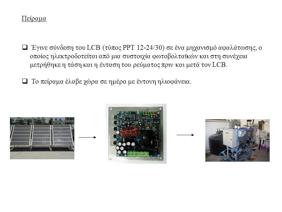  Έγινε σύνδεση του LCB (τύπος PPT 12-24/30) σε ένα μηχανισμό αφαλάτωσης, ο οποίος ηλεκτροδοτείται από μια συστοιχία φωτοβολταϊκών και στη συνέχεια μετρήθηκε η τάση και η ένταση του ρεύματος πριν και μετά τον LCB.