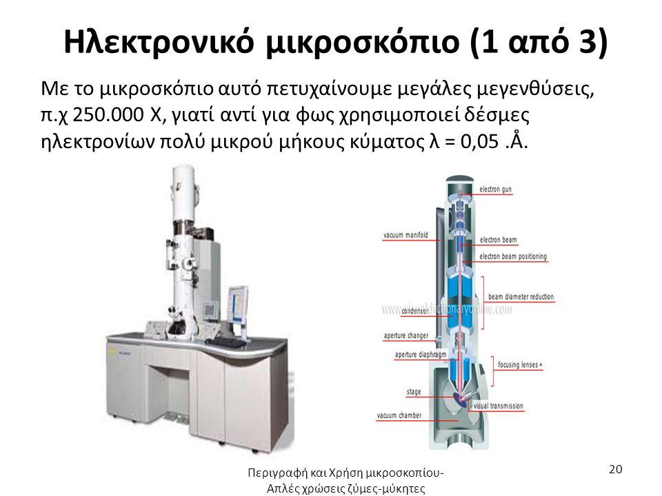 Ηλεκτρονικό μικροσκόπιο (1 από 3) Με το μικροσκόπιο αυτό πετυχαίνουμε μεγάλες μεγενθύσεις, π.χ 250.000 Χ, γιατί αντί για φως χρησιμοποιεί δέσμες ηλεκτρονίων πολύ μικρού μήκους κύματος λ = 0,05.Å.
