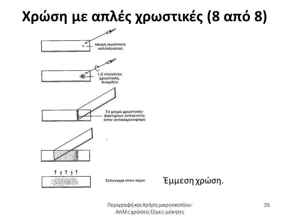 Χρώση με απλές χρωστικές (8 από 8) Έμμεση χρώση. Περιγραφή και Χρήση μικροσκοπίου- Απλές χρώσεις ζύμες-μύκητες 35