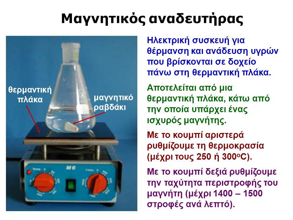 Μαγνητικός αναδευτήρας Ηλεκτρική συσκευή για θέρμανση και ανάδευση υγρών που βρίσκονται σε δοχείο πάνω στη θερμαντική πλάκα.