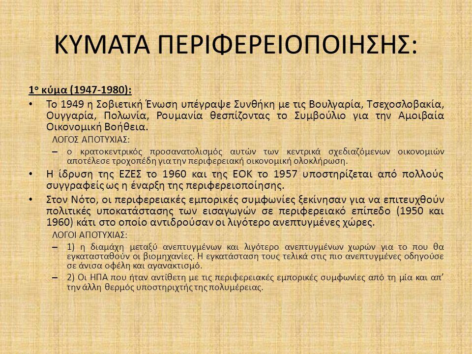 ΚΥΜΑΤΑ ΠΕΡΙΦΕΡΕΙΟΠΟΙΗΣΗΣ: 1 ο κύμα (1947-1980): Το 1949 η Σοβιετική Ένωση υπέγραψε Συνθήκη με τις Βουλγαρία, Τσεχοσλοβακία, Ουγγαρία, Πολωνία, Ρουμανία θεσπίζοντας το Συμβούλιο για την Αμοιβαία Οικονομική Βοήθεια.