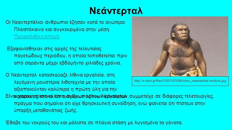 Νεάντερταλ Οι Νεαντερτάλιοι άνθρωποι έζησαν κατά το ανώτερο Πλειστόκαινο και συγκεκριμένα στην μέση Παλαιολιθική εποχή.