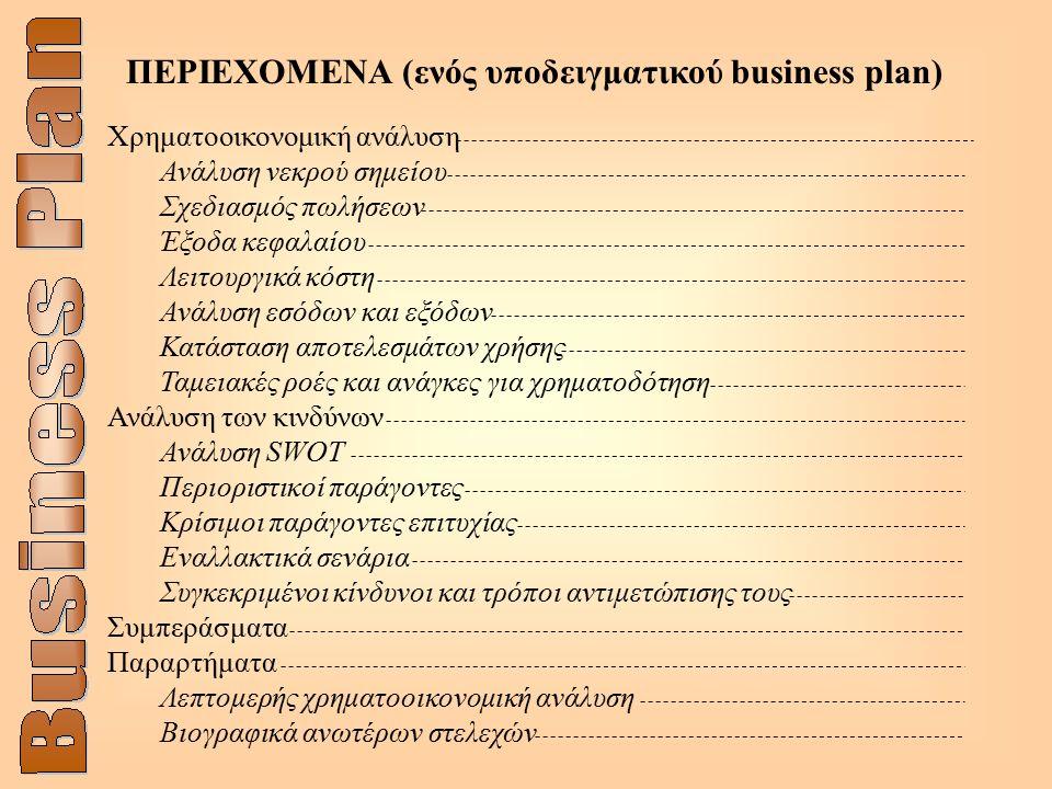 ΠΕΡΙΕΧΟΜΕΝΑ (ενός υποδειγματικού business plan) Χρηματοοικονομική ανάλυση Ανάλυση νεκρού σημείου Σχεδιασμός πωλήσεων Έξοδα κεφαλαίου Λειτουργικά κόστη Ανάλυση εσόδων και εξόδων Κατάσταση αποτελεσμάτων χρήσης Ταμειακές ροές και ανάγκες για χρηματοδότηση Ανάλυση των κινδύνων Ανάλυση SWOT Περιοριστικοί παράγοντες Κρίσιμοι παράγοντες επιτυχίας Εναλλακτικά σενάρια Συγκεκριμένοι κίνδυνοι και τρόποι αντιμετώπισης τους Συμπεράσματα Παραρτήματα Λεπτομερής χρηματοοικονομική ανάλυση Βιογραφικά ανωτέρων στελεχών
