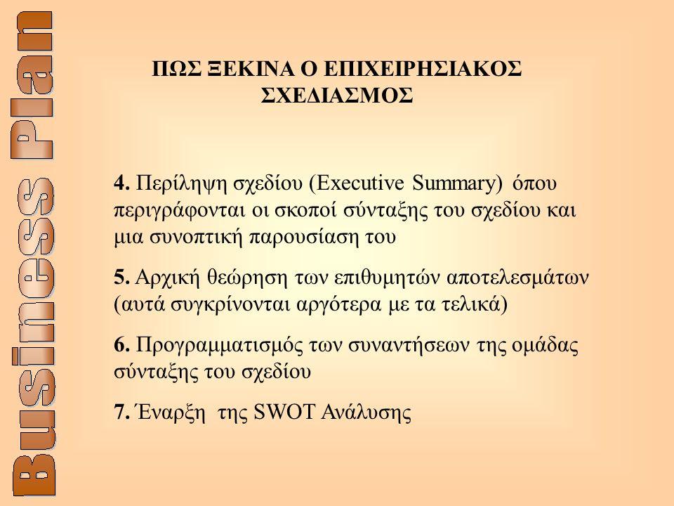 4. Περίληψη σχεδίου (Executive Summary) όπου περιγράφονται οι σκοποί σύνταξης του σχεδίου και μια συνοπτική παρουσίαση του 5. Αρχική θεώρηση των επιθυ