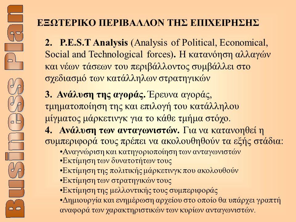 ΕΞΩΤΕΡΙΚΟ ΠΕΡΙΒΑΛΛΟΝ ΤΗΣ ΕΠΙΧΕΙΡΗΣΗΣ 2. P.E.S.T Analysis (Analysis of Political, Economical, Social and Technological forces). Η κατανόηση αλλαγών και