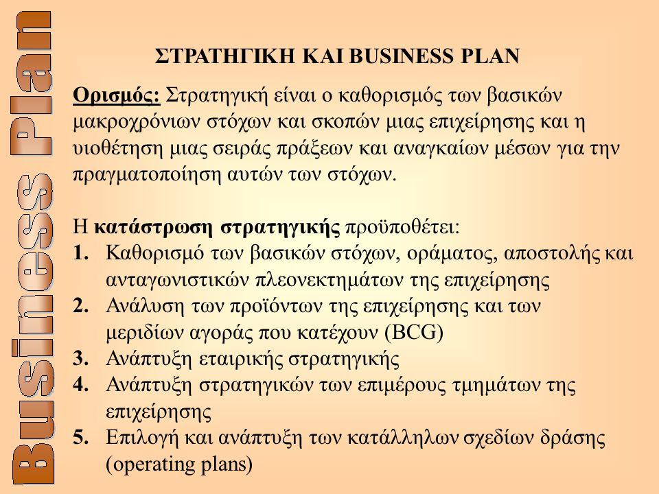 ΣΤΡΑΤΗΓΙΚΗ ΚΑΙ BUSINESS PLAN Ορισμός: Στρατηγική είναι ο καθορισμός των βασικών μακροχρόνιων στόχων και σκοπών μιας επιχείρησης και η υιοθέτηση μιας σειράς πράξεων και αναγκαίων μέσων για την πραγματοποίηση αυτών των στόχων.