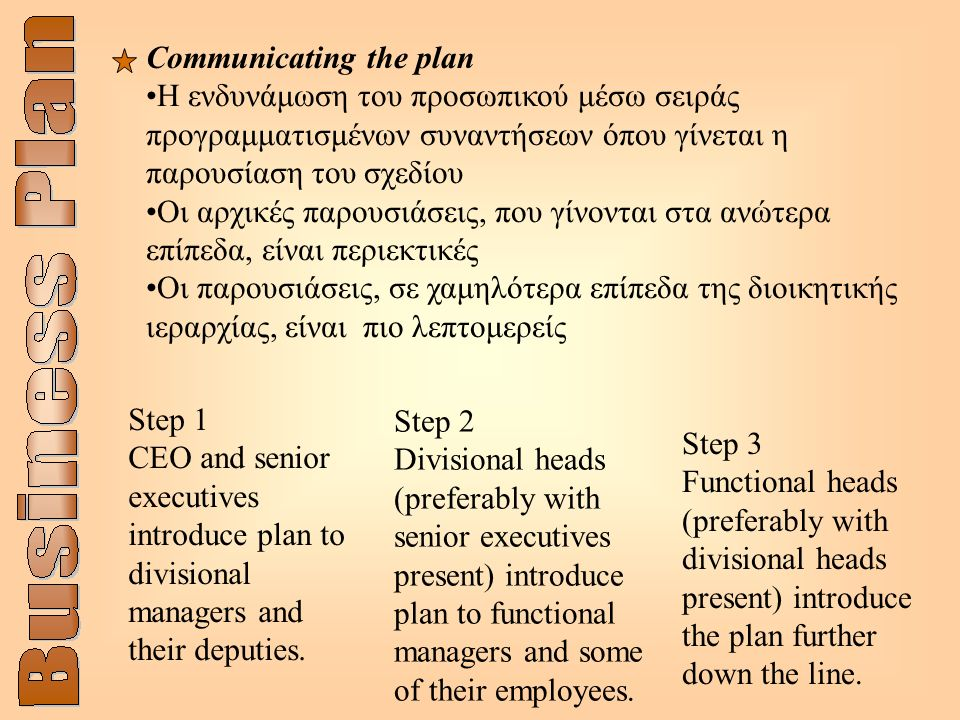 Step 1 CEO and senior executives introduce plan to divisional managers and their deputies.