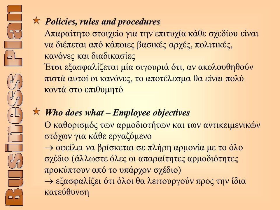 Ο καθορισμός των αρμοδιοτήτων και των αντικειμενικών στόχων για κάθε εργαζόμενο  οφείλει να βρίσκεται σε πλήρη αρμονία με το όλο σχέδιο (άλλωστε όλες