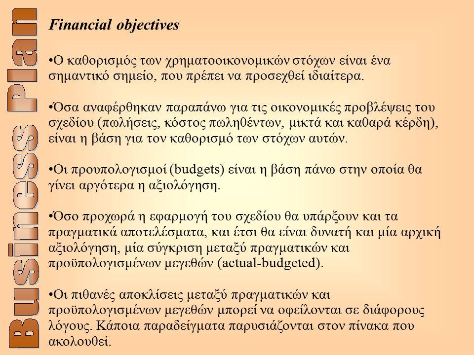 Financial objectives O καθορισμός των χρηματοοικονομικών στόχων είναι ένα σημαντικό σημείο, που πρέπει να προσεχθεί ιδιαίτερα. Όσα αναφέρθηκαν παραπάν