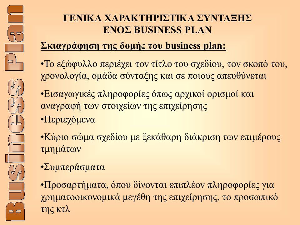 ΓΕΝΙΚΑ ΧΑΡΑΚΤΗΡΙΣΤΙΚΑ ΣΥΝΤΑΞΗΣ ΕΝOΣ BUSINESS PLAN Σκιαγράφηση της δομής του business plan: Το εξώφυλλο περιέχει τον τίτλο του σχεδίου, τον σκοπό του, χρονολογία, ομάδα σύνταξης και σε ποιους απευθύνεται Εισαγωγικές πληροφορίες όπως αρχικοί ορισμοί και αναγραφή των στοιχείων της επιχείρησης Περιεχόμενα Κύριο σώμα σχεδίου με ξεκάθαρη διάκριση των επιμέρους τμημάτων Συμπεράσματα Προσαρτήματα, όπου δίνονται επιπλέον πληροφορίες για χρηματοοικονομικά μεγέθη της επιχείρησης, το προσωπικό της κτλ