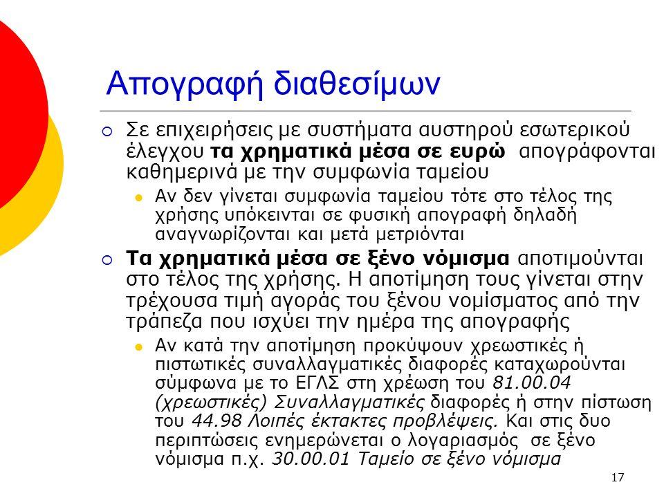 17 Απογραφή διαθεσίμων  Σε επιχειρήσεις με συστήματα αυστηρού εσωτερικού έλεγχου τα χρηματικά μέσα σε ευρώ απογράφονται καθημερινά με την συμφωνία τα