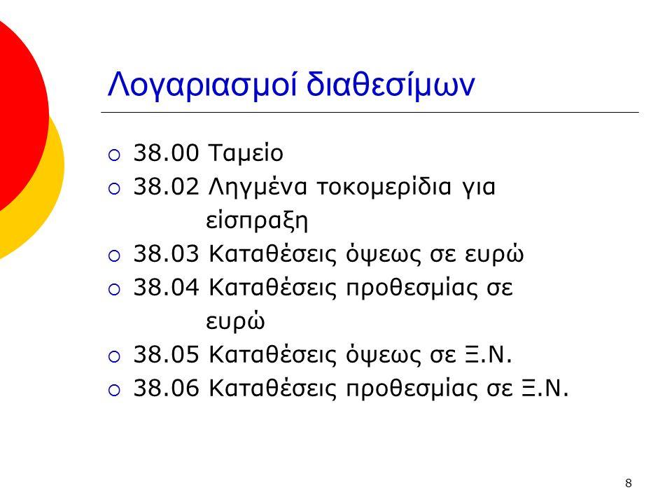 8 Λογαριασμοί διαθεσίμων  38.00 Ταμείο  38.02 Ληγμένα τοκομερίδια για είσπραξη  38.03 Καταθέσεις όψεως σε ευρώ  38.04 Καταθέσεις προθεσμίας σε ευρ