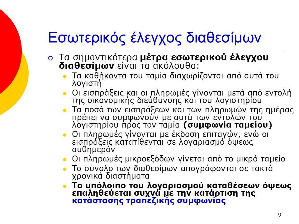 10 Επαλήθευση λογαριασμού καταθέσεις όψεως  Οι αναλήψεις και καταθέσεις σε τραπεζικό λογαριασμό όψεως καταχωρούνται από την επιχείρηση στο λογαριασμό 38.03 Καταθέσεις όψεως σε ευρώ  Οι ίδιες συναλλαγές καταχωρούνται από την τράπεζα στον αντίστοιχο λογαριασμό της Καταθέσεις (ή καταθέτες) όψεως  Οι καταθέσεις στους δυο λογαριασμούς είναι παράλληλες, αλλά δεν είναι συνήθως ταυτόχρονες, με αποτέλεσμα τα υπόλοιπα των δυο λογαριασμών να μην συμφωνούν σε μια δεδομένη στιγμή