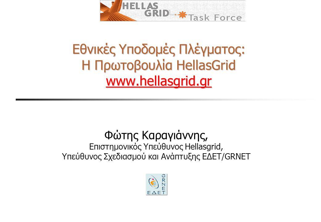 Εθνικές Υποδομές Πλέγματος: Η Πρωτοβουλία HellasGrid www.hellasgrid.gr www.hellasgrid.gr Φώτης Καραγιάννης, Επιστημονικός Υπεύθυνος Hellasgrid, Υπεύθυνος Σχεδιασμού και Ανάπτυξης ΕΔΕΤ/GRNET
