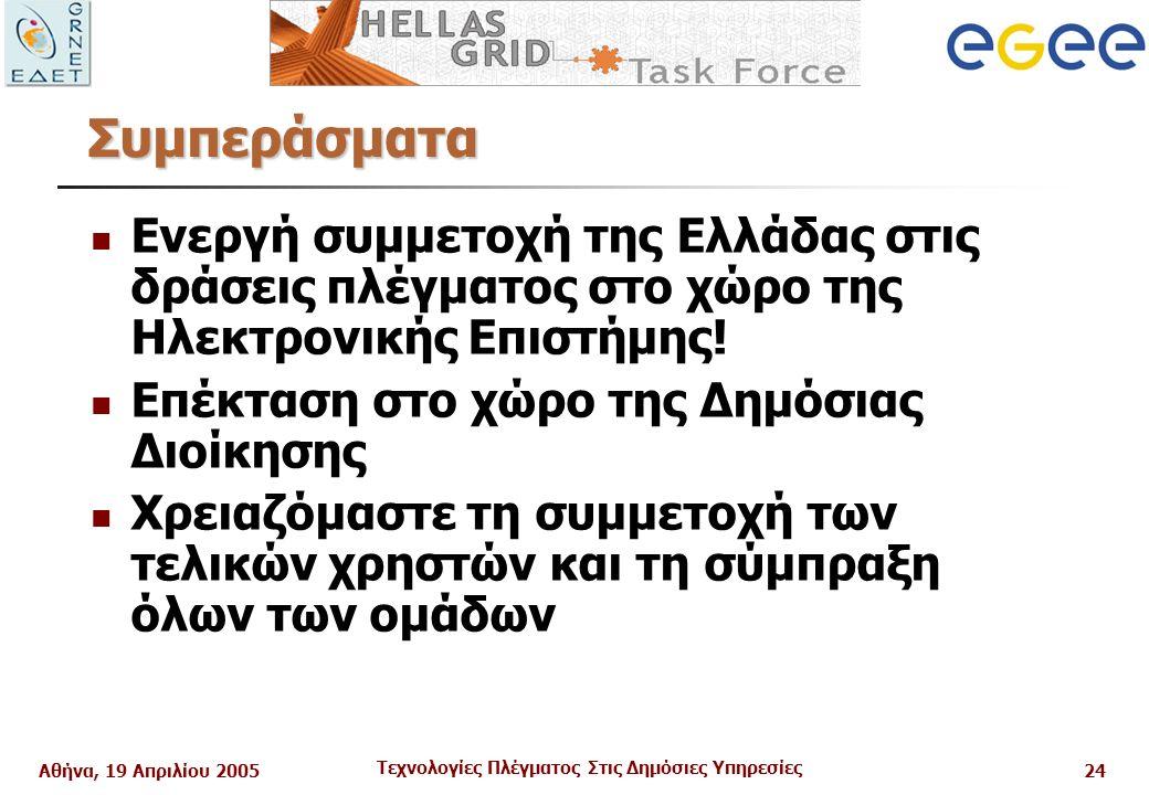 Αθήνα, 19 Απριλίου 2005 Τεχνολογίες Πλέγματος Στις Δημόσιες Υπηρεσίες 24 Συμπεράσματα Ενεργή συμμετοχή της Ελλάδας στις δράσεις πλέγματος στο χώρο της Ηλεκτρονικής Επιστήμης.