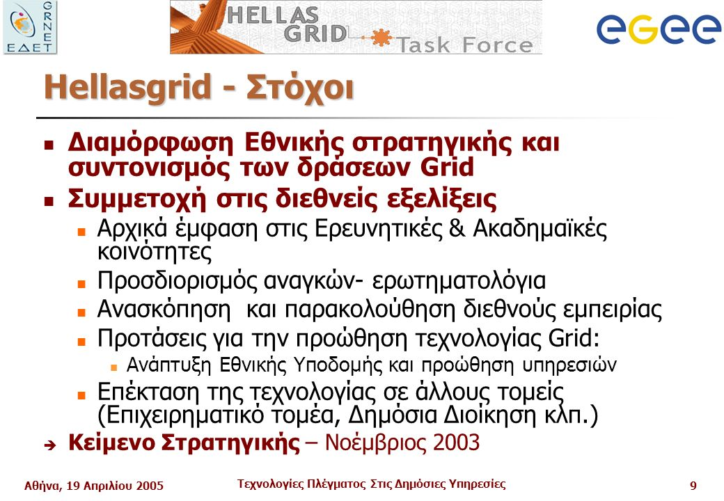Αθήνα, 19 Απριλίου 2005 Τεχνολογίες Πλέγματος Στις Δημόσιες Υπηρεσίες 9 Ηellasgrid - Στόχοι Διαμόρφωση Εθνικής στρατηγικής και συντονισμός των δράσεων Grid Συμμετοχή στις διεθνείς εξελίξεις Αρχικά έμφαση στις Ερευνητικές & Ακαδημαϊκές κοινότητες Προσδιορισμός αναγκών- ερωτηματολόγια Ανασκόπηση και παρακολούθηση διεθνούς εμπειρίας Προτάσεις για την προώθηση τεχνολογίας Grid: Ανάπτυξη Εθνικής Υποδομής και προώθηση υπηρεσιών Επέκταση της τεχνολογίας σε άλλους τομείς (Επιχειρηματικό τομέα, Δημόσια Διοίκηση κλπ.)  Κείμενο Στρατηγικής – Νοέμβριος 2003