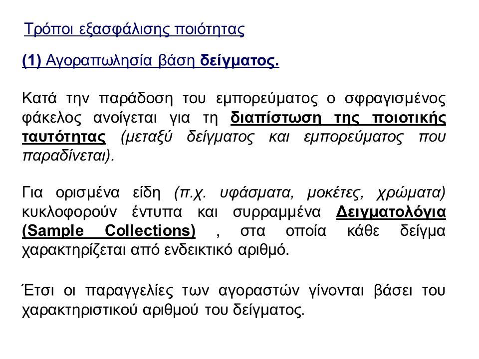 Τρόποι εξασφάλισης ποιότητας (1) Αγοραπωλησία βάση δείγματος. Κατά την παράδοση του εμπορεύματος ο σφραγισμένος φάκελος ανοίγεται για τη διαπίστωση τη