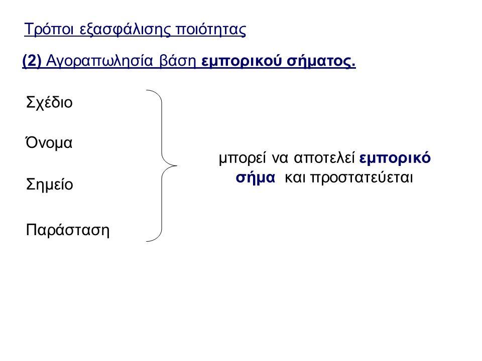 Τρόποι εξασφάλισης ποιότητας (2) Αγοραπωλησία βάση εμπορικού σήματος.