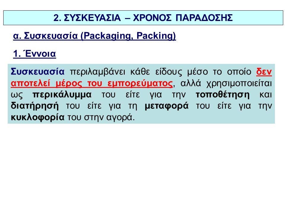 2. ΣΥΣΚΕΥΑΣΙΑ – ΧΡΟΝΟΣ ΠΑΡΑΔΟΣΗΣ α. Συσκευασία (Packaging, Packing) 1.